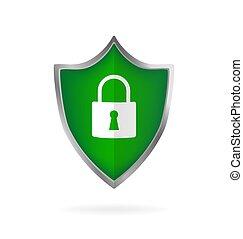 vector., bouclier, vert, toile fond., noir, données, numérique, plat, icône, arrière-plan., secure.