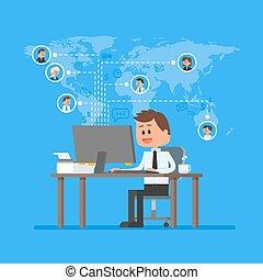 vector., business, fonctionnement, maison, concept, contrôle, management., style., projet, indépendant, travail, job., plat, illustration, éloigné, équipe