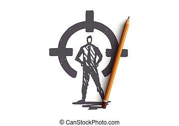 vector., cercle, main, isolé, vue, arrière, dessiné, cible, contrôle, concept., but