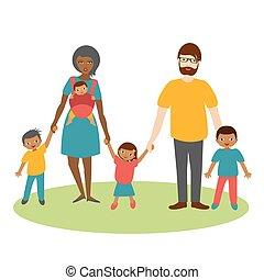 vector., course, trois, famille, dessin animé, children., ilustration, mélangé