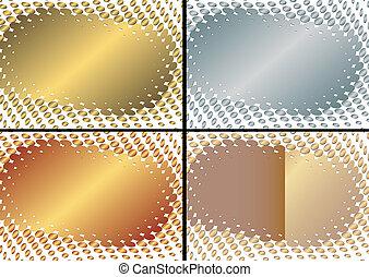 (vector), doré, cadre, collection, argenté