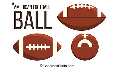 vector., equipment., rugby, football américain, sport, isolé, balle, différent, plat, illustration, vue.