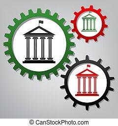 vector., flag., trois, bâtiment, historique, esprit, connecté, engrenages