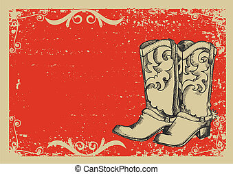 .vector, image, bottes, fond, cow-boy, grunge, graphique, texte