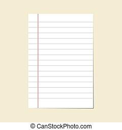 vector., ligne, papier cahier, vide, bloc-notes, sheet.