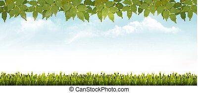 vector., nature, printemps, leaves., fond, herbe
