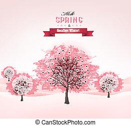 vector., printemps, floraison, sakura, fond, arbres.