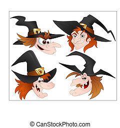vectors, sorcière, dessin animé, faces