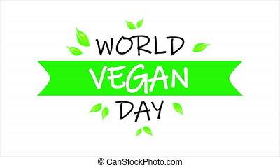 vegan, jour, mondiale, typographie, bannière