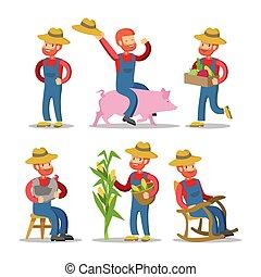 vegetables., cartoon., caractère, illustration, vecteur, paysan, panier, type, heureux