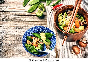 vegetables., nourriture, asiatique, fond, frit, nouilles
