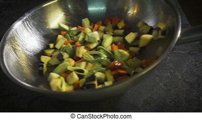 vegetables., restaurant, intervenir, chef cuistot, café, ou, moule, cuisine