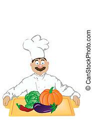 vegetables., tient, illustration, gai, vecteur, cuisinier, plateau