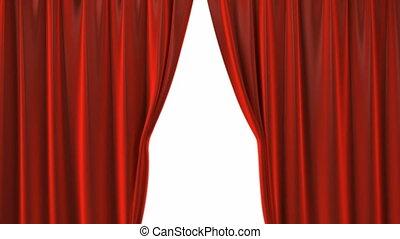 velours, théâtre, ouverture, rideaux, rouges