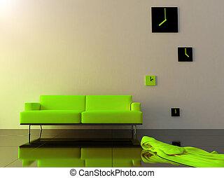 velours, zone, horloge, sofa, -, vert, temps, intérieur