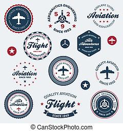 vendange, étiquettes, aéronautique