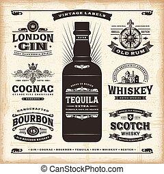 vendange, étiquettes, alcool, collection