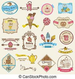 vendange, étiquettes, -, boulangerie, vecteur, conception, dessert, album