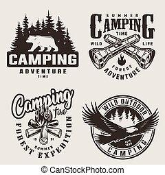 vendange, étiquettes, camping, été