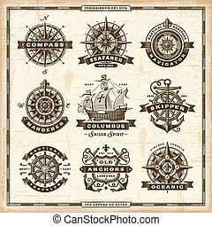 vendange, étiquettes, collection, nautique