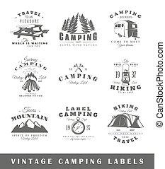 vendange, étiquettes, ensemble, camping