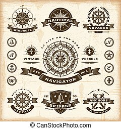 vendange, étiquettes, ensemble, nautique