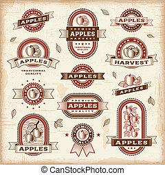 vendange, étiquettes, ensemble, pomme