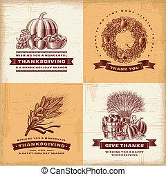 vendange, étiquettes, ensemble, thanksgiving