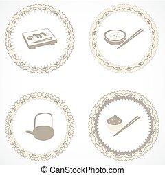 vendange, étiquettes, icônes