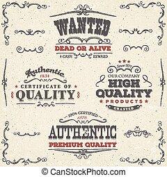 vendange, étiquettes, main, dessiné, bannières, qualité