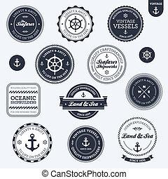 vendange, étiquettes, nautique