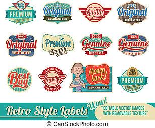 vendange, étiquettes, retro, étiquettes