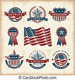 vendange, américain, étiquettes, ensemble