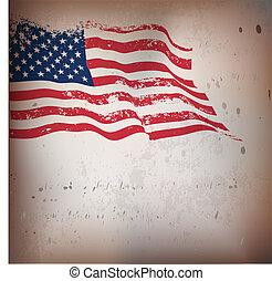 vendange, américain, textured, drapeau, arrière-plan.
