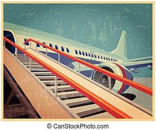vendange, avion, affiche