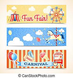 vendange, bannières, horizontal, carnaval