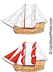 vendange, bateau, voile
