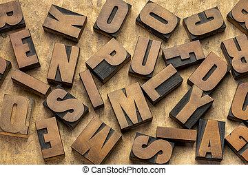 vendange, blocs, letterpress, impression, type, bois