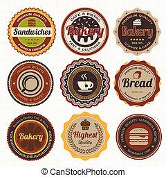 vendange, boulangerie, ensemble, insignes, labels.