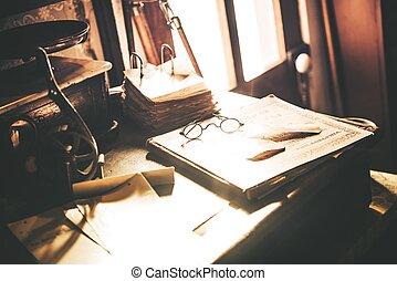 vendange, bureau, lunettes