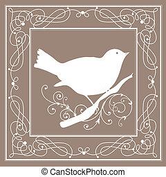 vendange, cadre, oiseau