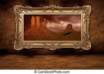vendange, cadre, panorama, boroque, vallée monument