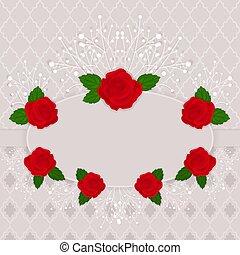 vendange, cadre, vecteur, roses., décoré, rouges