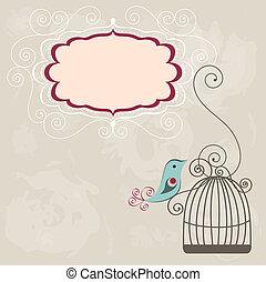 vendange, cadre, wih, cage d'oiseaux