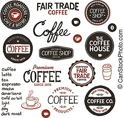 vendange, café, étiquettes, lettrage