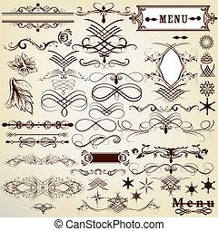 vendange, calligraphic, concevoir élément