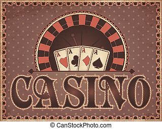 vendange, carte, casino, invitation