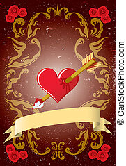 vendange, carte, valentin