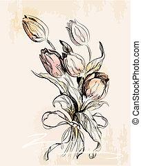 vendange, carte voeux, tulipes