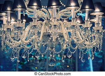 vendange, chandelier., cristal